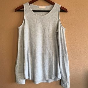 Sweet Romeo Cold Shoulder Grey Top Size M